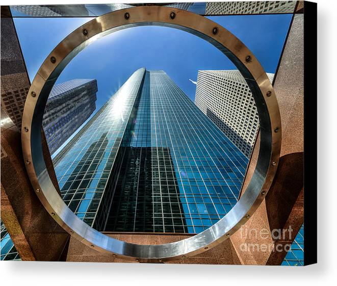 Building Canvas Print featuring the photograph Ring Of Trust - Wells Fargo Plaza by Dee Zunker