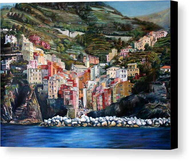 Cinque Terre Canvas Print featuring the painting Riomaggiore Glory- Cinque Terre by Jennifer Lycke