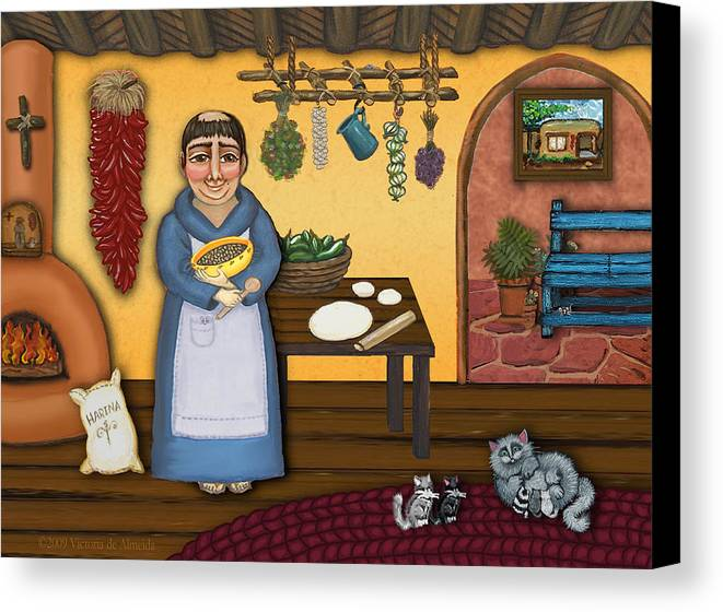 San Pascual Canvas Print featuring the painting San Pascuals Kitchen 2 by Victoria De Almeida