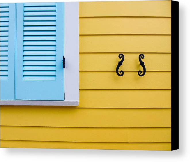 Blue Canvas Print featuring the photograph Shutters by Jeanne Brophy