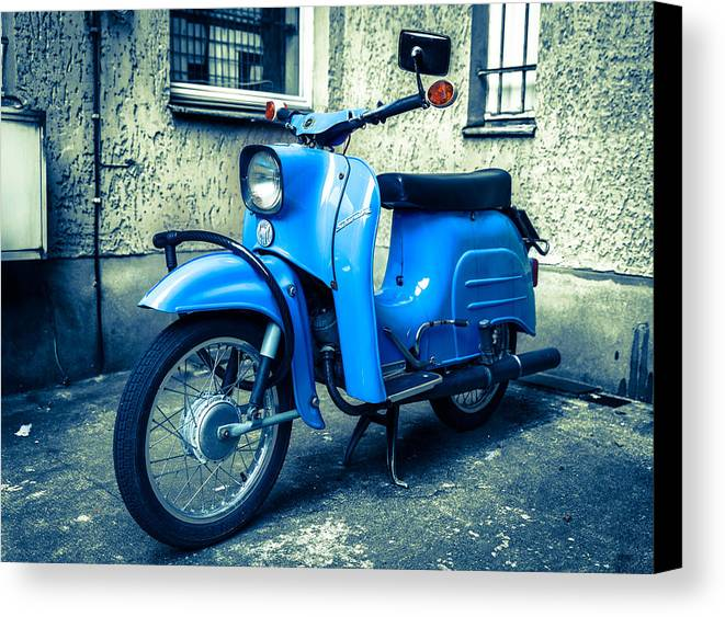 Blue Canvas Print featuring the photograph Simson Schwalbe Kr51 by Semmick Photo