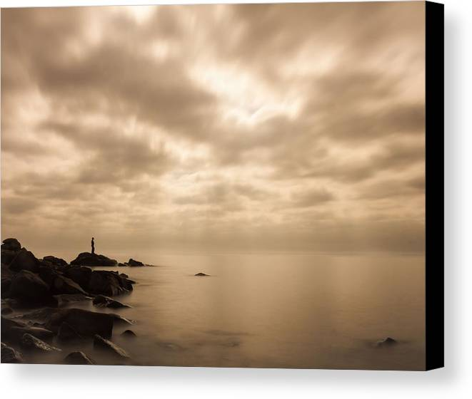 lake Superior great Lake human Element small.. Me Canvas Print featuring the photograph Small... by Mary Amerman