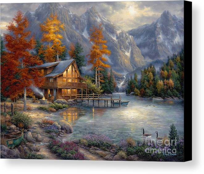 Mountain Cabin Canvas Print featuring the painting Space For Reflection by Chuck Pinson