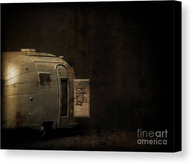Creepy Canvas Print featuring the photograph Spooky Airstream Campsite by Edward Fielding