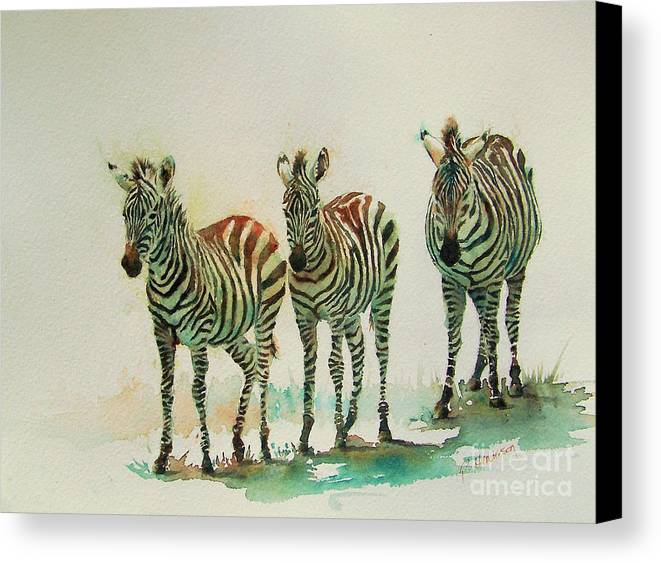 Zebras Canvas Print featuring the painting Stipes II by Patricia Henderson