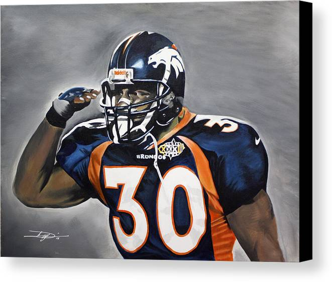 Td Canvas Print featuring the drawing Terrell Davis by Don Medina