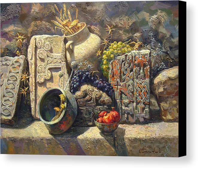 The Armenian Still Life Canvas Print featuring the painting The Armenian Still Life With Cross Stone Khachkar by Meruzhan Khachatryan