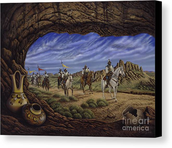 Spaniards Canvas Print featuring the painting The Arrival by Ricardo Chavez-Mendez