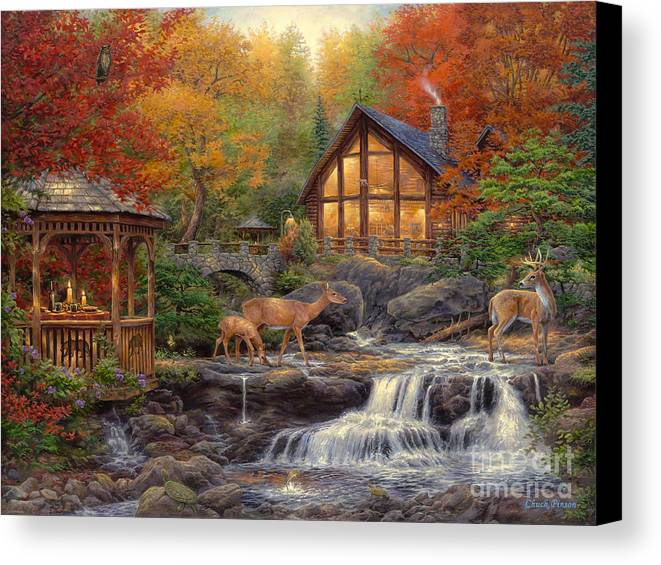 Cabin Canvas Print featuring the painting The Colors Of Life by Chuck Pinson