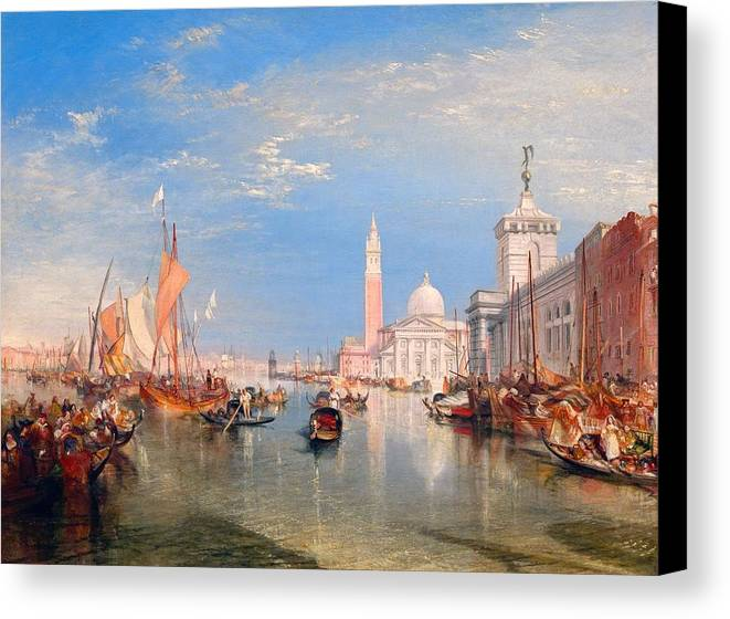 1834 Canvas Print featuring the painting The Dogana And San Giorgio Maggiore by JMW Turner