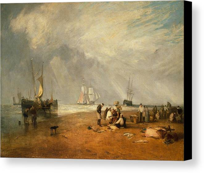 1810 Canvas Print featuring the painting The Fish Market At Hastings Beach by JMW Turner