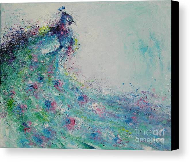 Peacock Canvas Print featuring the painting The Flirt by Dan Campbell