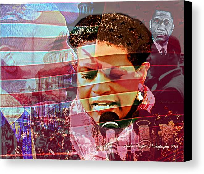 Barack Obama Canvas Print featuring the digital art The Invocation by Lynda Payton