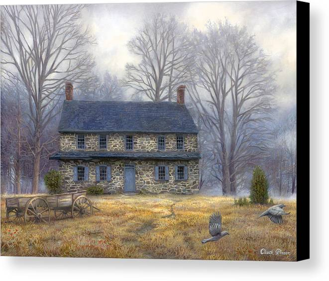 Colonial Canvas Print featuring the painting The Old Farmhouse by Chuck Pinson