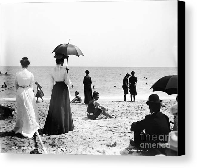 Black And White Canvas Print featuring the photograph Turn Of The Century Palm Beach by LOC Science Source