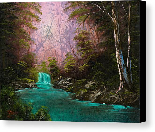 Landscape Canvas Print featuring the painting Turquoise Waterfall by C Steele