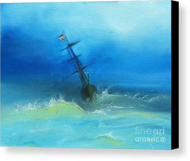Boat Canvas Print featuring the painting Usa Through The Storm by Jorge Rueda