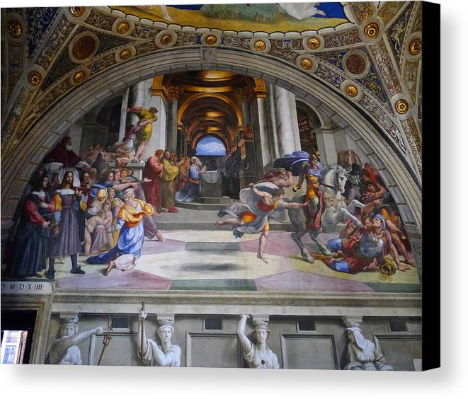 Canvas Print featuring the photograph Vatican Fresco 4 by Herb Paynter