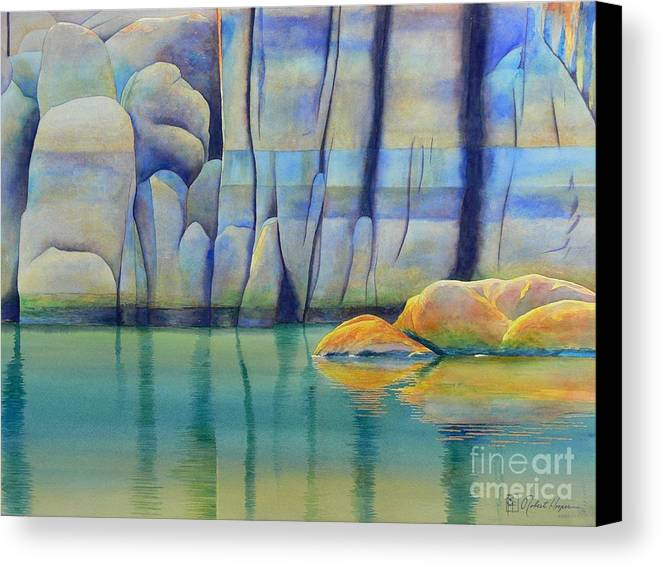 Watercolor Canvas Print featuring the painting Watson Rocks by Robert Hooper