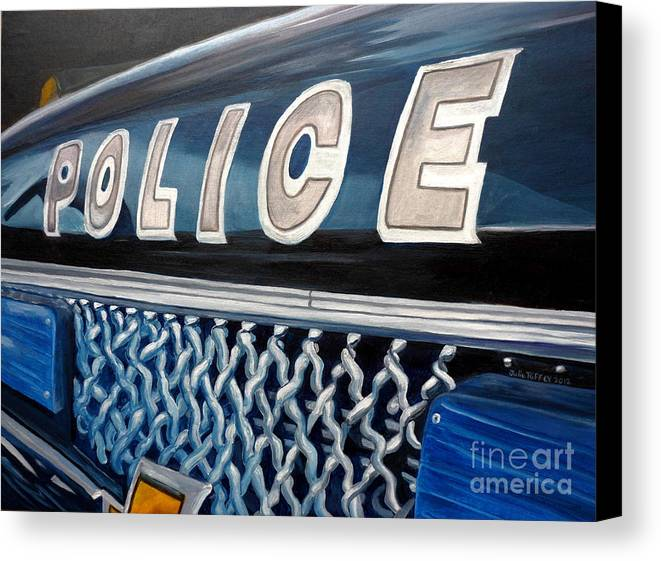 Police Canvas Print featuring the painting Whatcha Gonna Do When They Come For You? by Julie Brugh Riffey