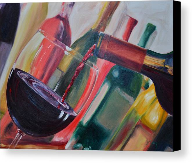 Wine Canvas Print featuring the painting Wine Pour IIi by Donna Tuten