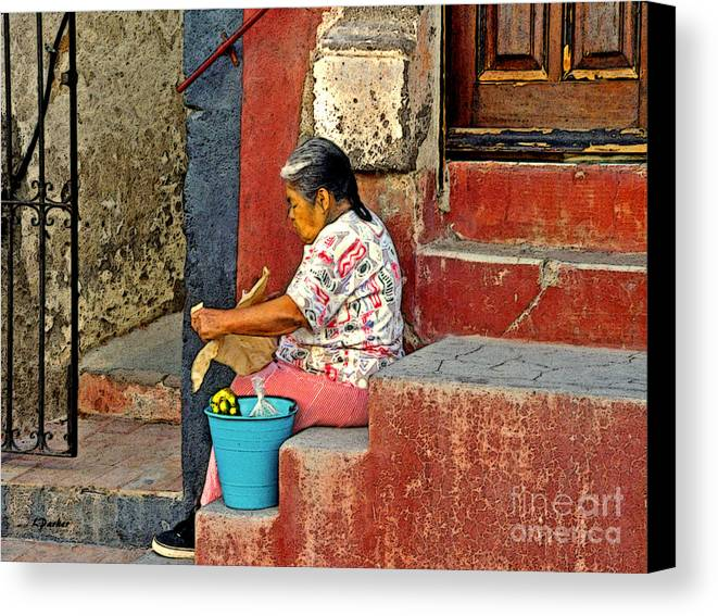 Mexico Canvas Print featuring the photograph Woman Of Colonial Mexico by Linda Parker