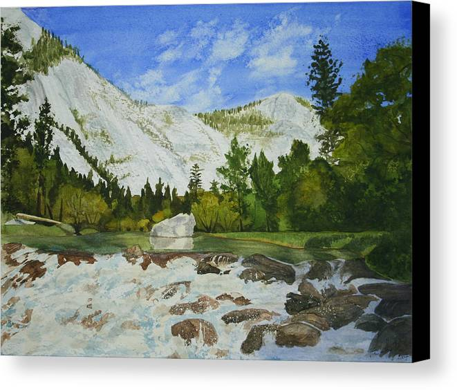Landscape Canvas Print featuring the painting Yosemite Park by Monika Degan