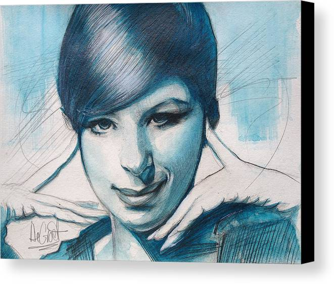 Iconic Canvas Print featuring the painting Young Barbra Streisand by Gregory DeGroat