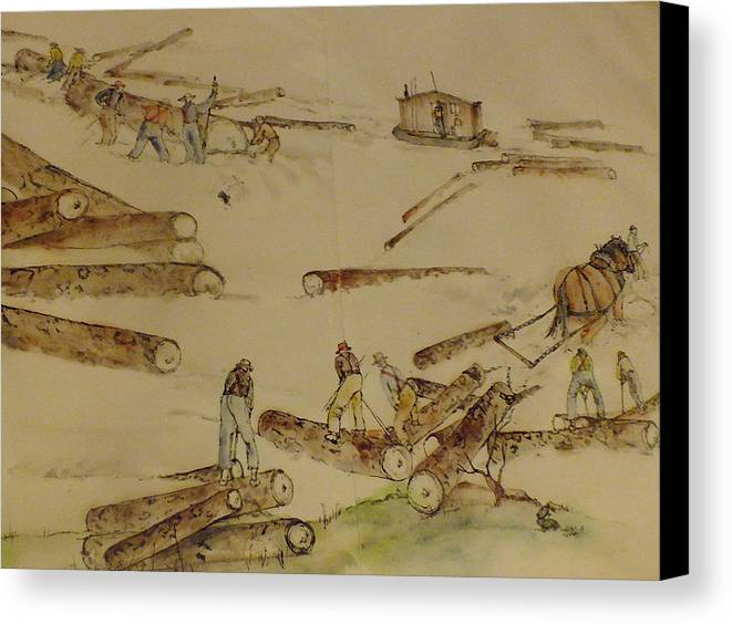 Logging. History. Pacific Nw. Action. Canvas Print featuring the painting logging in the Pacific N.W. by Debbi Saccomanno Chan