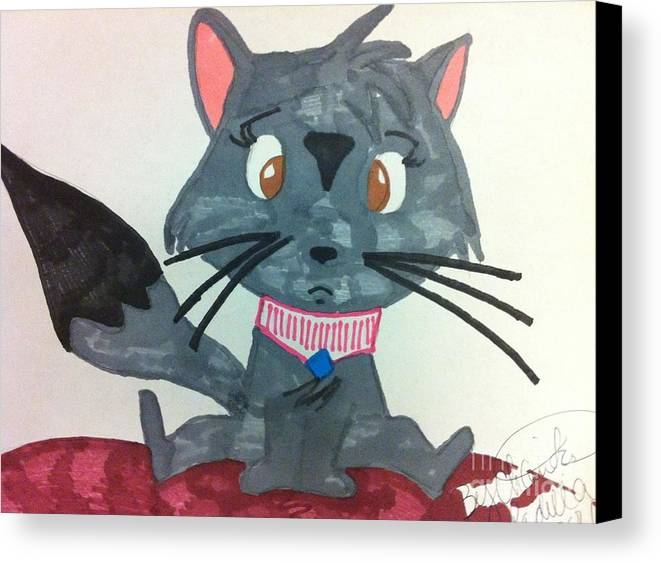 Cat Cartoon Canvas Print featuring the drawing A Trouble Cat by Charita Padilla