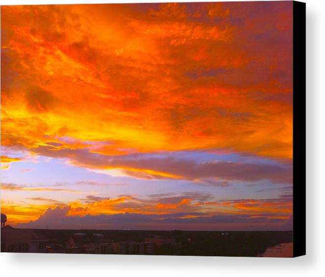 Cocoa Canvas Print featuring the painting Cocoa Sunset by AnnaJo Vahle