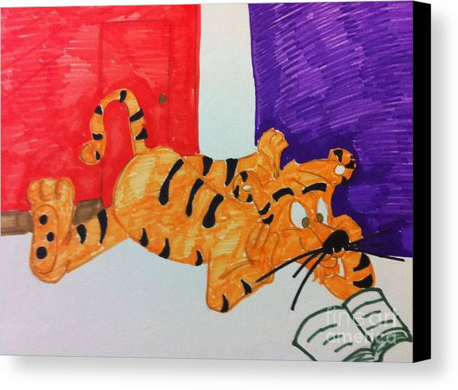 Cartoon Canvas Print featuring the drawing Cool Tiger Love To Read by Charita Padilla