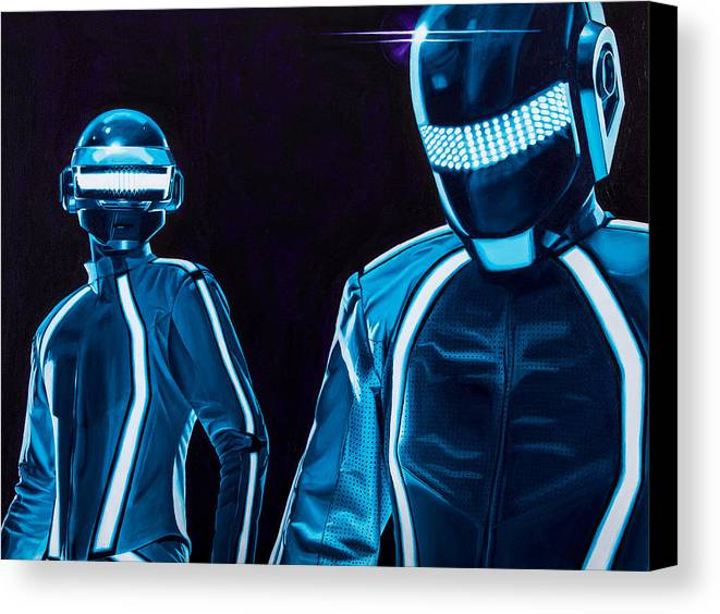 Tron Canvas Print featuring the painting Daft Punk by Ellen Patton
