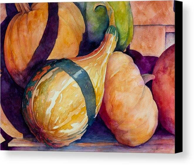 Gourds Canvas Print featuring the painting Gourds In The Fall by Sherri Snyder