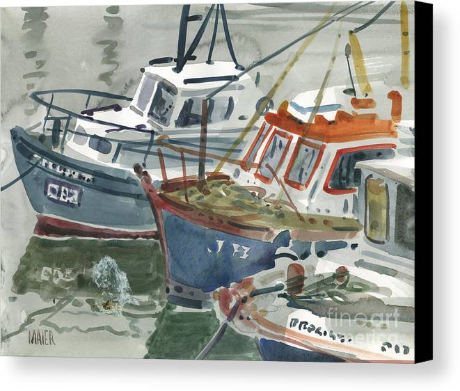 Kilmlore Canvas Print featuring the painting Kilmore Boats by Donald Maier