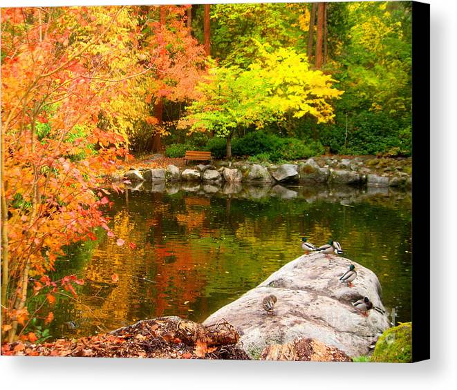 Serenity Scenes Photography Landscape Scenic Pacific Northwest Forest Woods Trees Shasta Eone Oregon Nature Lithia Park Ashland Fall Autumn Color Leaves Stream River Water Rocks Duck Pond Canvas Print featuring the painting Li12.23 by Shasta Eone
