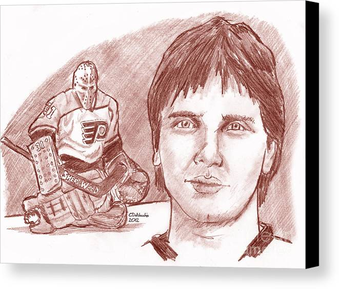 Flyers Canvas Print featuring the drawing Pelle Lindbergh by Chris DelVecchio