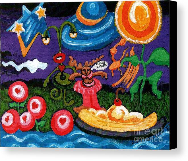 Planet Fantastic Canvas Print featuring the painting Planet Fantastic by Genevieve Esson