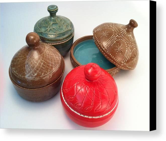 Art Canvas Print featuring the ceramic art Prayer Pots by Carolyn Coffey Wallace