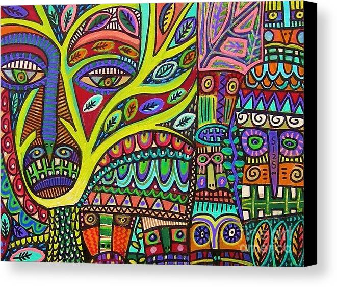 Tree Canvas Print featuring the painting Raven Spirit Tree Totem Goddess by Sandra Silberzweig