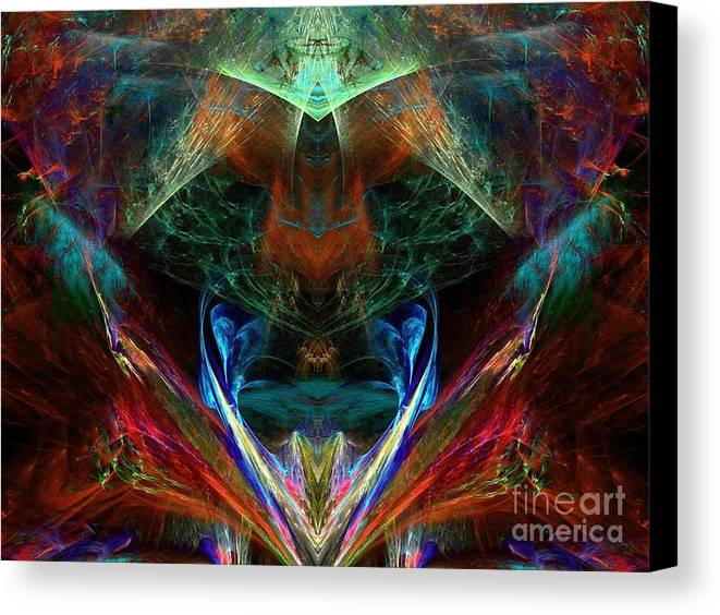 Abstract Canvas Print featuring the digital art Red Indian by Klara Acel
