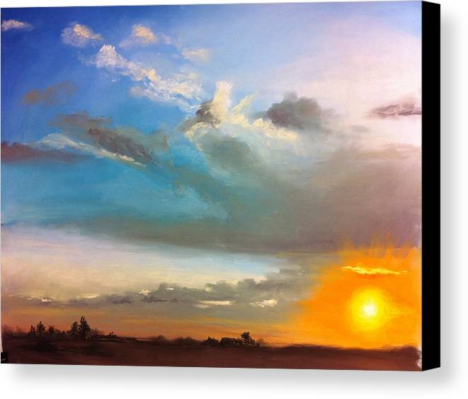 Sunset Canvas Print featuring the pastel Springfield Sunset by Prashant Shah