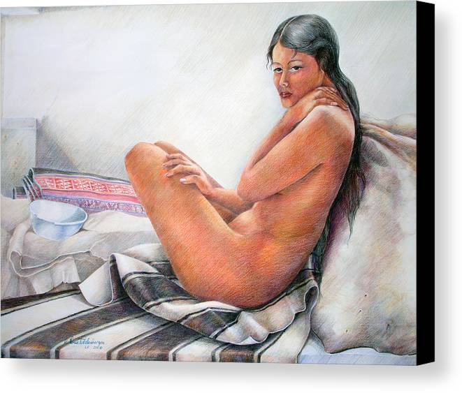 Copper Canvas Print featuring the drawing Sumax Sipas by Sonia Tudela