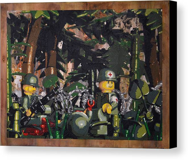 Military Canvas Print featuring the painting Tending To The Wounded Vietnam by Josh Bernstein