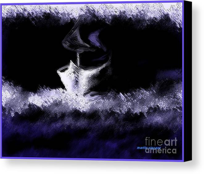 Landscape Canvas Print featuring the digital art The Yacht by Martin Vincent