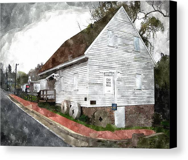 2d Canvas Print featuring the photograph Wye Mill - Water Color Effect by Brian Wallace