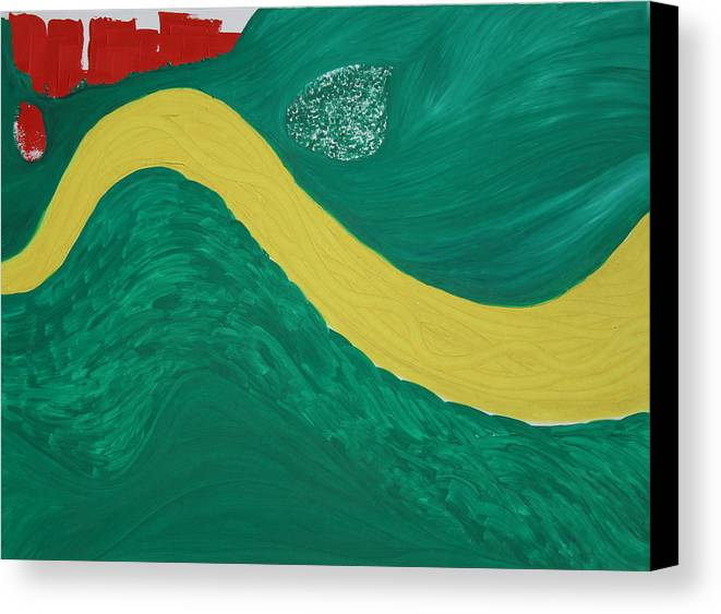 Canvas Print featuring the painting Bend In The River by Prakash Bal Joshi