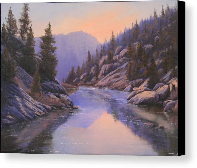 Landscape Canvas Print featuring the painting 071123-1612 Remnants Of The Day In The Canyon by Kenneth Shanika