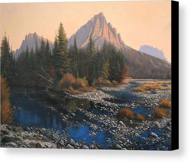 Autumn Canvas Print featuring the painting 080414-4030 September Evening On Horse Thief Creek by Kenneth Shanika