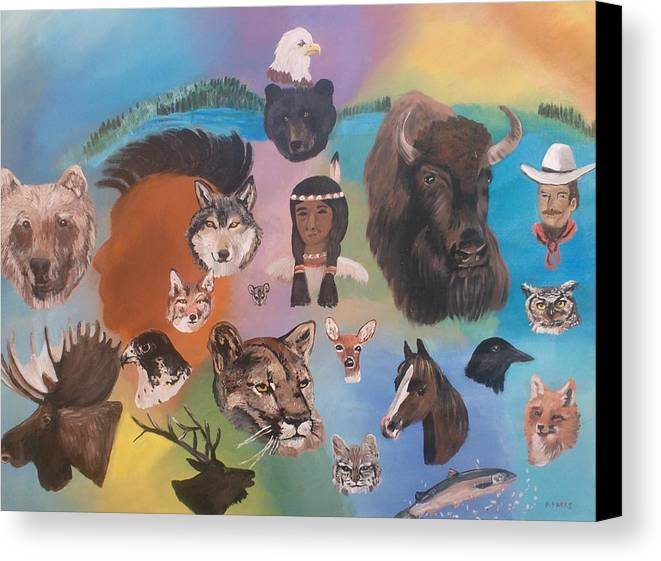 Animals Canvas Print featuring the painting Many Faces by Aleta Parks